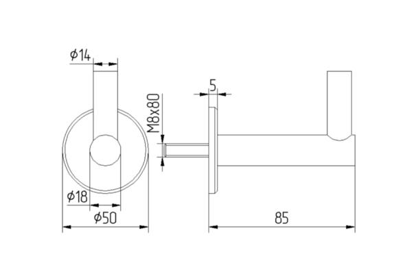 70.01.0210.0 handlaufträger v2a mit platte ø50x5mm + stockschraube m8x80 abstand 68mm 6